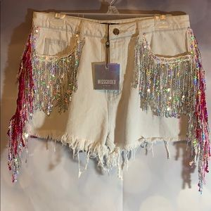 Missguided shorts fringe sequins pink silver NWT